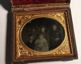 Outdoor Ambrotype of a Mother and Children, Antique Photo in Full Leather Case