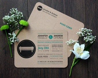 "Rustic Park Bench Wedding Postcard Invitation Printed On Kraft Paper, Custom Printable, Typography Wedding Invite, ""5x7"""