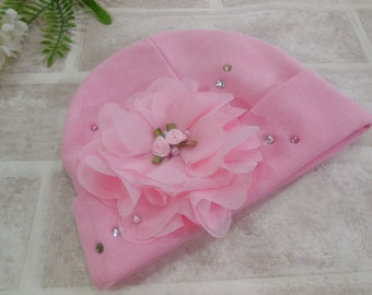 Newborn Girl Hat/Baby Girl Pink Hat / Cute Pink Baby Girl hat/ Newborn Girl Take Home Hat /