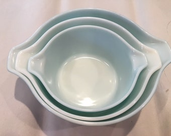 PYREX AMISH BUTTERPRINT Cinderella 3 bowl casserole set 473,474-B,475-B very nice