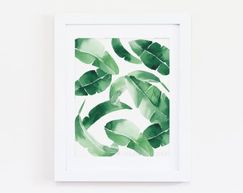 Banana Leaf One - Watercolor Art Print - Tropical Emerald Green Palm Frond
