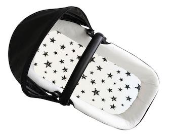 Moses Basket Sheet, Fitted Sheet, Bassinet Sheet, Stars Stroller Sheet, Trendy Newborn, Handmade, Gift for Baby, Baby Shower Gift, Handmade