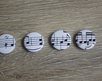 Sheet music magnets, a set of 4 25mm magnets with a sheet music print on white fabric