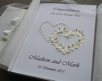 Personalised Wedding Congratulations Card Handmade 3D Flowers Hearts Diamantes Crystal Parents Grandparents Keepsake