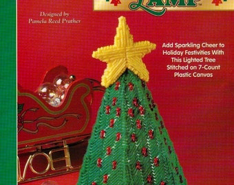 Christmas Tree Lamp, The Needlecraft Shop Plastic Canvas Pattern Leaflet 983048  Holiday Decoration, Really Lights Up!