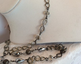 Silver Tone Long Necklace with Swarovski & Czech Crystals