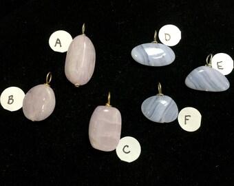 Pink Kunzite & Blue Lace Agate Pendants