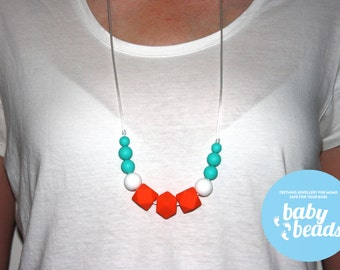 Orange and Mint Silicone Teething Necklace