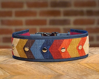Chevron Wide Dog Collar, Zig Zag print pattern design, large big gift idea, Attention Hounds