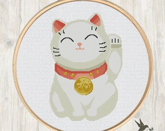 Chinese Lucky Cat cross stitch pattern, modern cross stitch pattern, maneki neko cross stitch pattern, chinese fortune cat, needlecraft