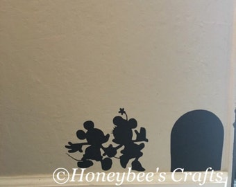 Disney wall sticker/// mickey and minnie// wall sticker// hidden door// a little bit of magic
