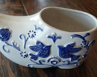Ceramic Dutch Holland Clog Shoe Planter Delft Blue Birds Flowers Vines Rubens Originals Made in Japan