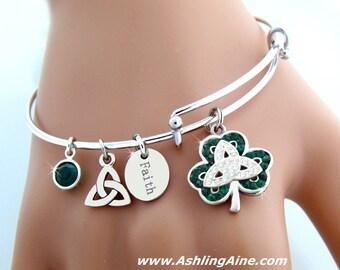 Celebrating St. Patrick  Bangle Charm Bracelet (S89bangle)