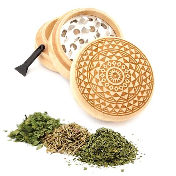 Mandala Engraved Premium Natural Wooden Grinder Item # PW050916-97