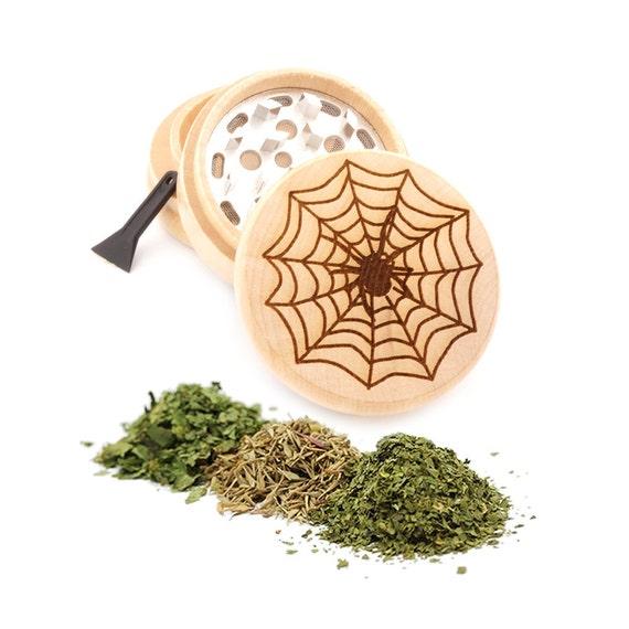 Spider Web Engraved Premium Natural Wooden Grinder Item # PW91316-30