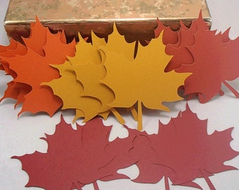 16 Maple Leave Cut Outs in Fall Colors, Autumn Bulletin Board Decorations, Large Maple Leaves
