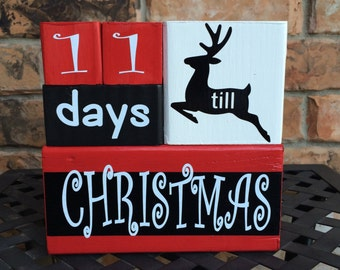 Whimsical Santa Christmas countdown advent blocks
