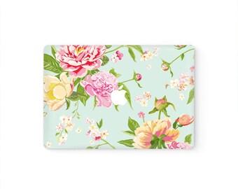 MacBook Top Front Lid Cover MacBook Decal MacBook Skin MacBook Sticker Air/Pro/Retina Touch Bar 11 12 13 15 17 inch | Peony Flowers
