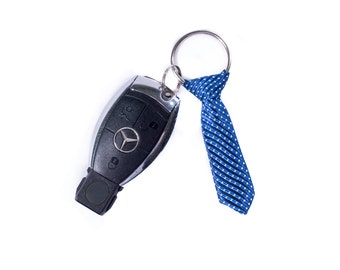 Miniature Blue Tie Keychain - Best gift for men - Holiday Season Gift for Men - Valentine's gift for men