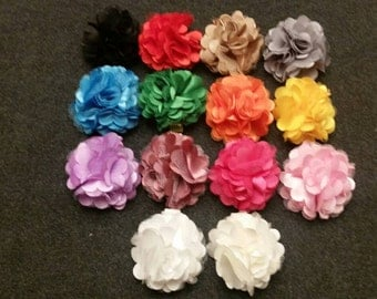 Set of 14 Chiffon Flower Hair Clips, Baby Flower Hair Clips, Satin Flower Lace Hair Clips, Flower Hair Clips, Newborn Hair Bows, Baby Bows