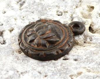 2 Lotus Charm, Lotus, Flower Charm, Rustic Lotus, Rustic Brown Charm, Antiqued Charm, Lotus Pendant, Patina Charm
