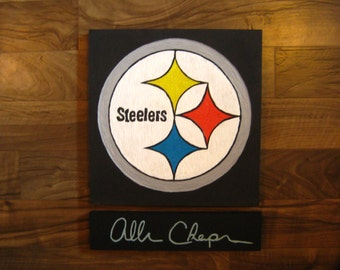 Steelers sports logo hand carving, wood art, wall art, wall decor, home decor, man cave, wood carving, linocut carving, sports team