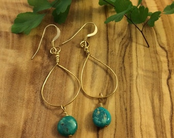 Hand Wrapped Turquoise Earrings
