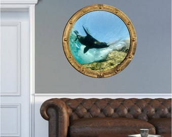 Port Scape Rustic Sea Lion #2 Porthole Wall Sticker Graphic Decal Under Water Window View Kids Children Game BedRoom Decor Art NEW