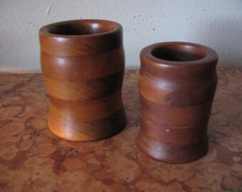 Set of two Hand Turned Lathe Wooden Vases Pen Pencil Holders Stash Catch All! #BV