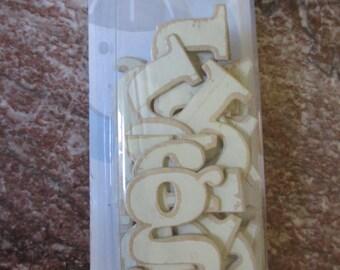 Vintage Wood Alphabet Chipboard Letters - Butter