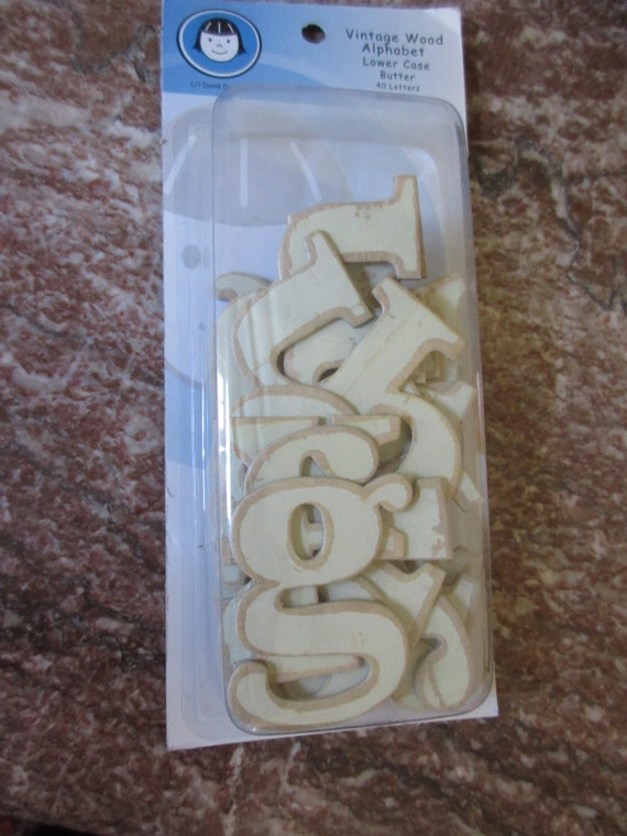 Vintage wood alphabet chipboard letters butter for Where to buy chipboard letters