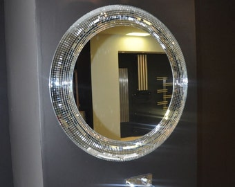 Large Round Mirror / Mosaic Mirror / Oval Mirror / Handmade / Christmas Gifts / Minimal Decoration / Wall Mirror  / Moder Decoration /