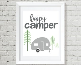 Happy Camper Printable, Happy Camper Digital Art, Happy Camper Instant Download, Happy Camper Nursery Art, Camping Nursery, Camping Art, RV