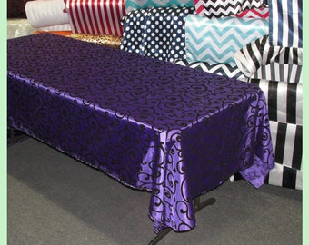Purple / Black Flocking Swirl Taffeta 58 X 108 Rectangle Tablecloth