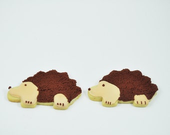 Hedgehogs - Autumn Cookies - Decorated Iced Sugar Cookies - One Dozen - Fall  - Forest