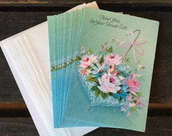 24 thank you cards - 12 Vintage wedding and 12 bridal shower thank you cards, vintage wedding shower vintage cards wedding ephemera