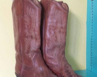 Andre Assous Brown Leather Cowboy  Boots // vintage // 80s