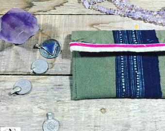 boho wallet // bohemian clutch // hippie handbag // military canvas, hmong indigo textile, organic hand-dyed fabric