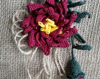"""Knitted brooch """"Maroon Chrysanthemum"""""""