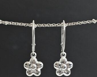 Sterling Silver Flower Drop Earrings, Silver Lever Back earrings, Puffed Daisy Flower Earrings, Birthday Gift Her, Puffed Flower Earrings,