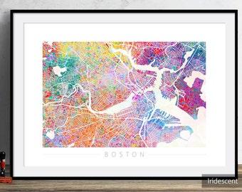 Boston Map - City Street Map of Boston Massachusetts - Art Print Watercolor Illustration Wall Art Home Decor Gift - PRINT in WHITE