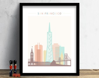 San Francisco Skyline, Print, Watercolor Print, Wall Art, Watercolor Art, City Poster, Cityscape, Home Decor, Christmas Gift PRINT