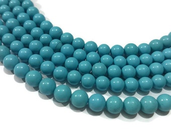 5mm  Natural Turquoise Round Beads , 100 % Genuine Stone , Length in 8 Inch