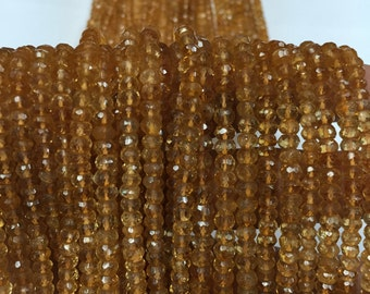 14 Inches Strand, AAA Quality, Citrine faceted Roundel 4mm to 4.5mm
