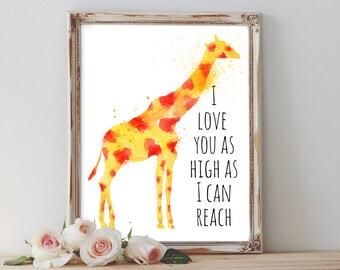 20% OFF I love you as high as I can reach, giraffe, nursery decor, nursery, nursery art, giraffe nursery, nursery prints, giraffe wall art