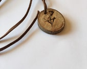 wolf & the moon wooden pendant