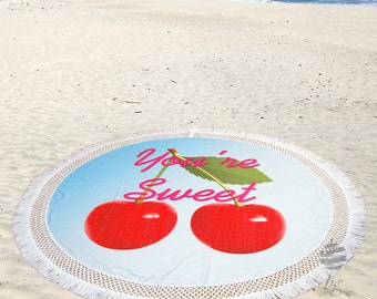 """Large Round Beach Towel Circle Rounded Towels 190cm (74"""") – Ref So Sweet"""