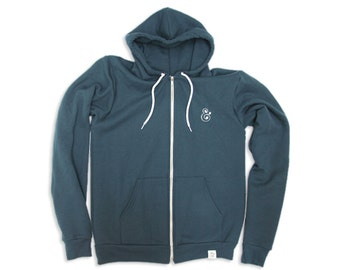 Ampersand Embroidery Hoodie (Sea Blue)