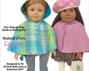 Capelet Doll Clothes Pattern for 18 inch dolls - PDF