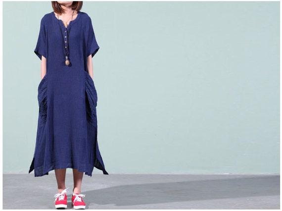 Loose Fitting Dress Cotton Dresses Linen Maxi Dress By